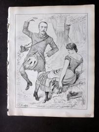 E. C. Mountfort - Dart 1880's Political Cartoon. North Warwick - Poachers Beware